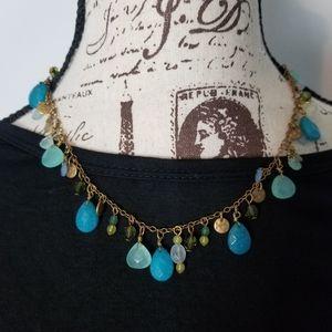 Ralph Lauren Blue and Gold Boho Necklace